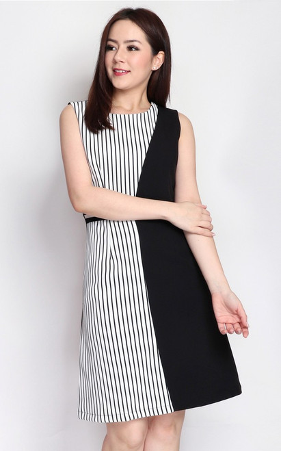 Contrast Panel Dress - Stripes