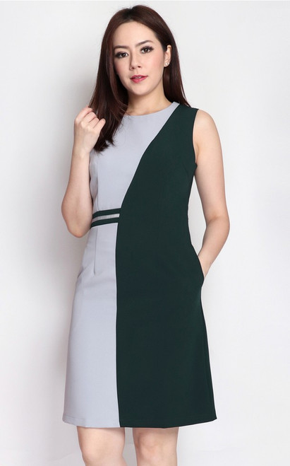 Contrast Panel Dress - Forest Green