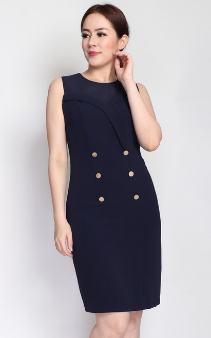Asymmetrical Tux Pencil Dress - Navy