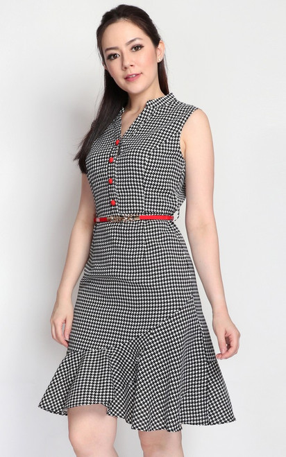 Houndstooth Flounce Hem Dress