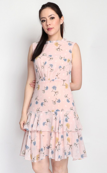 Floral Tiered Chiffon Dress - Peach Pink