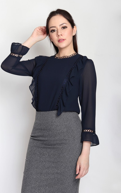 Ruffled Eyelet Trim Top - Navy