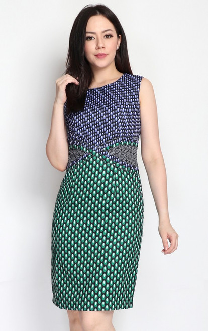Mixed Prints Dress - Violet/Green