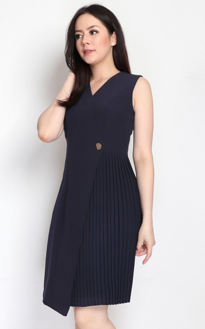 Side Pleats Dress - Navy