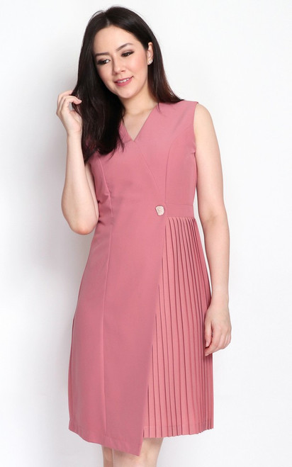 Side Pleats Dress - Dusty Rose