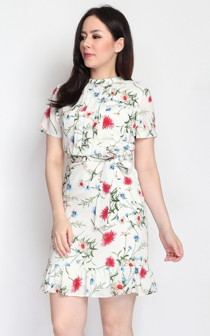 Floral Ruffle Hem Dress - White