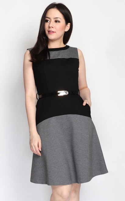 Colourblock Flare Dress - Grey