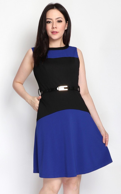 Colourblock Flare Dress - Blue