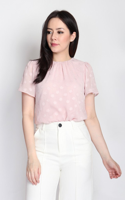 Embossed Chiffon Top - Pink