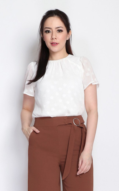 Embossed Chiffon Top - White