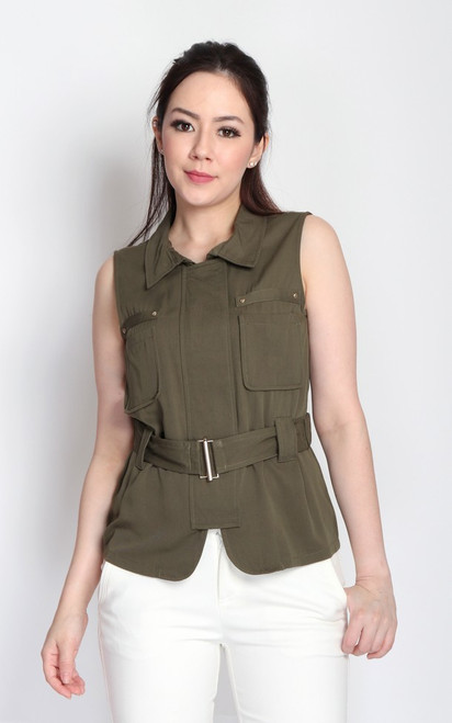 Pockets Belted Top - Olive