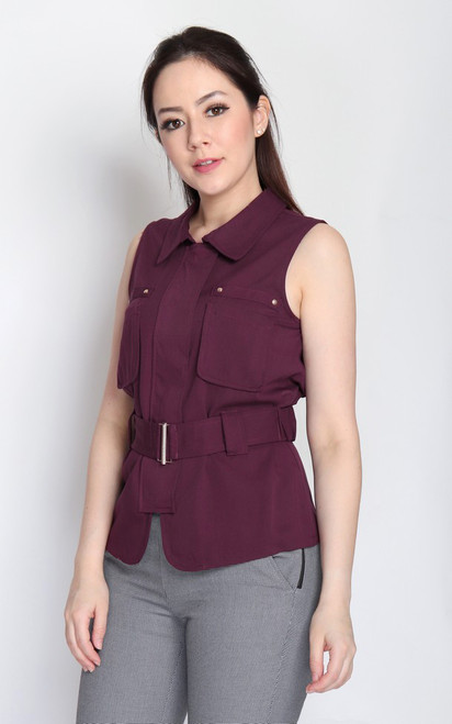 Pockets Belted Top - Cranberry
