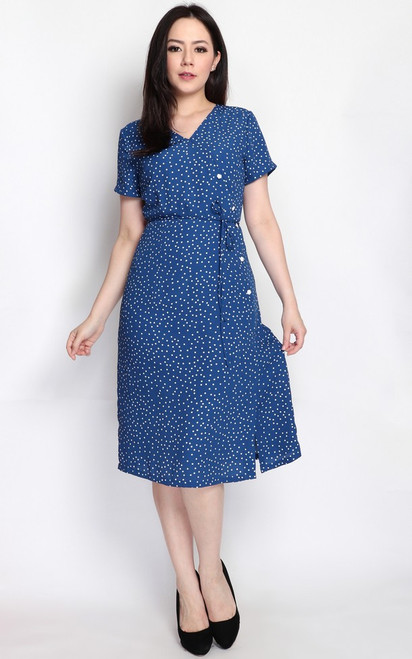 Polka Dot Buttons Midi Dress - Navy