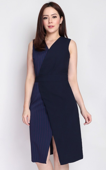 Pinstripe Wrap Front Dress