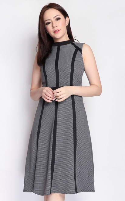 Contrast Trim Houndstooth Dress - Grey