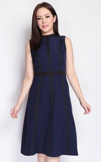 Contrast Trim Houndstooth Dress - Navy