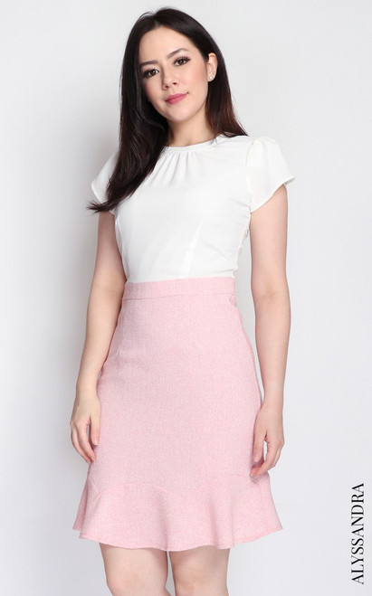 Tweed Bottom Dress - White