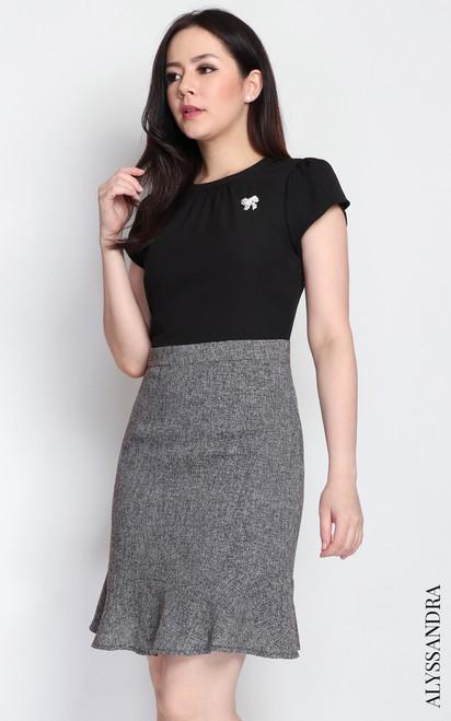 Tweed Bottom Dress - Black