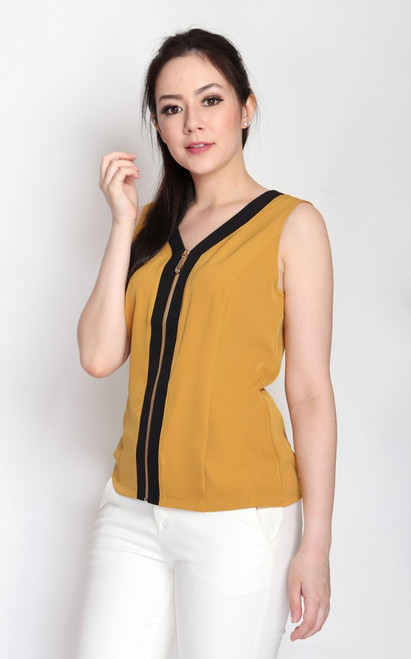 Contrast Zipper Top - Mustard