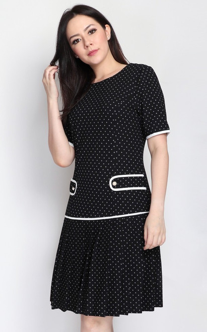 Dotted Pleated Drop Waist Dress