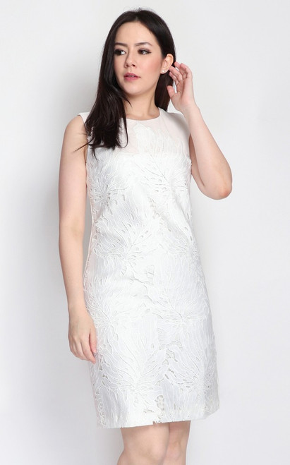 Crochet Overlay Dress - White