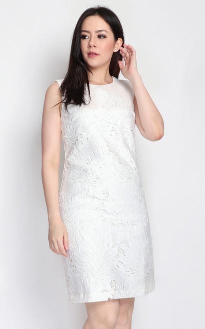 Crochet Overlay Dress - White