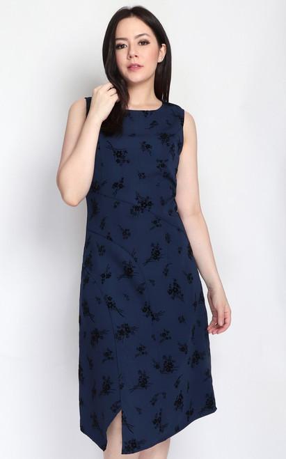 Velvet Motif Dress - Navy