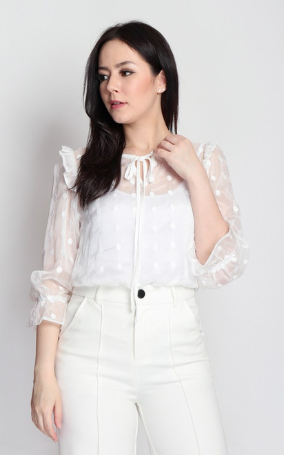 Embroidered Ruffle Top - White