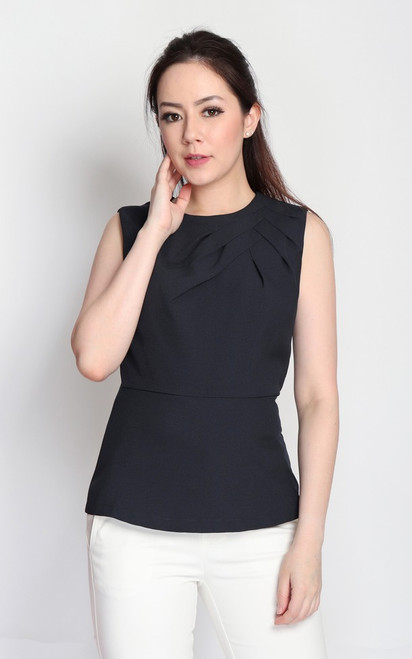 Origami Peplum Top - Midnight Blue