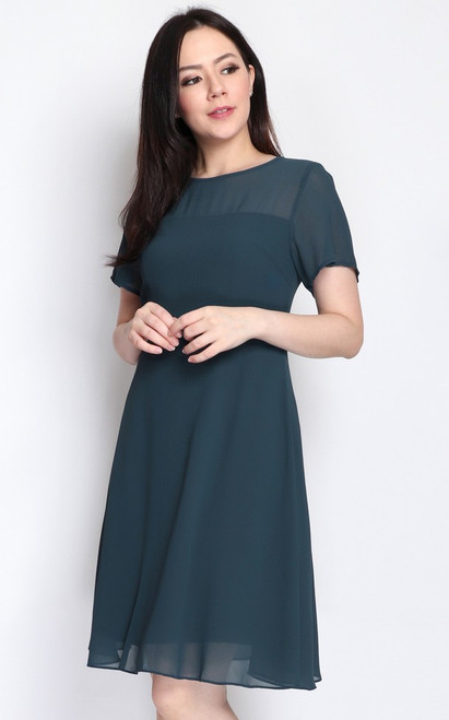 Chiffon Flare Dress - Teal