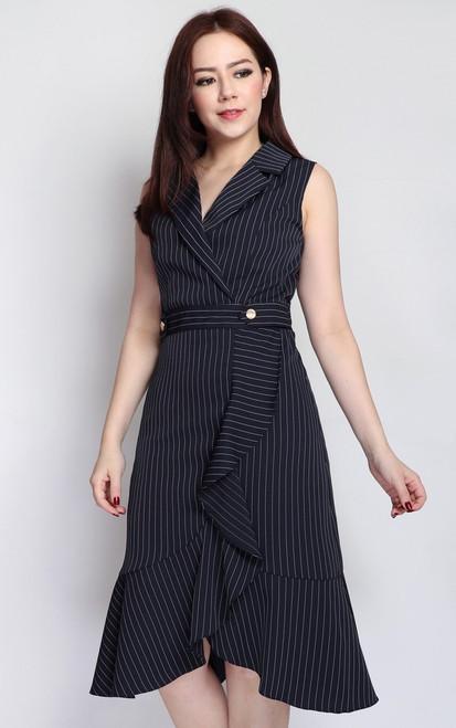 Pinstripe Ruffle Hem Dress - Midnight Blue