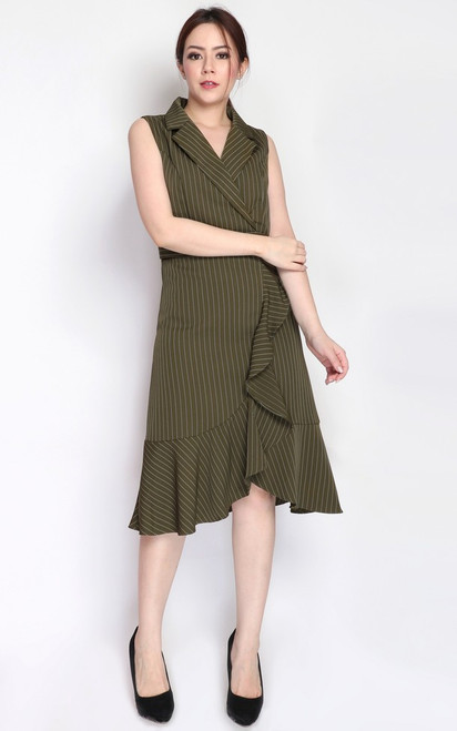 Pinstripe Ruffle Hem Dress - Olive
