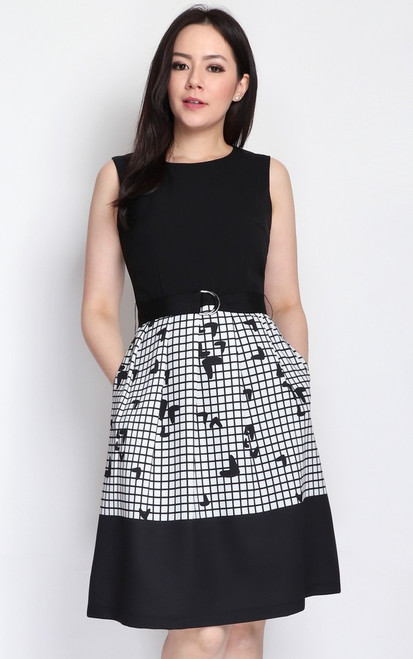 Monochrome Grid Dress