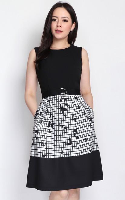 Monochrome Grid Dress