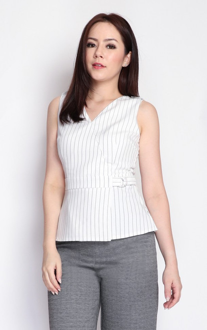 Pinstripe Peplum Top - Off White