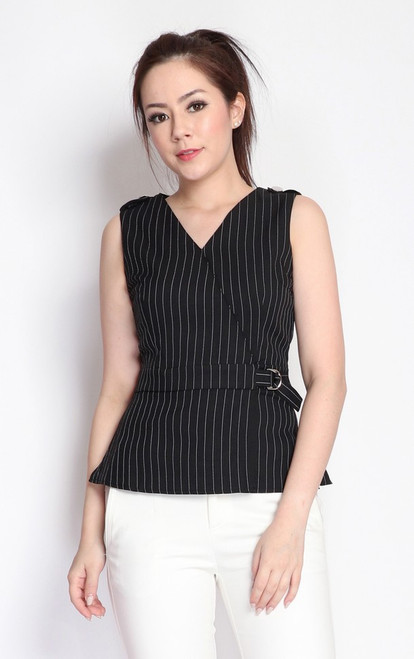 Pinstripe Peplum Top - Black