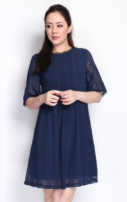 Embroidered Chiffon Dress - Navy