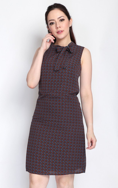 Neck Tie Printed Dress