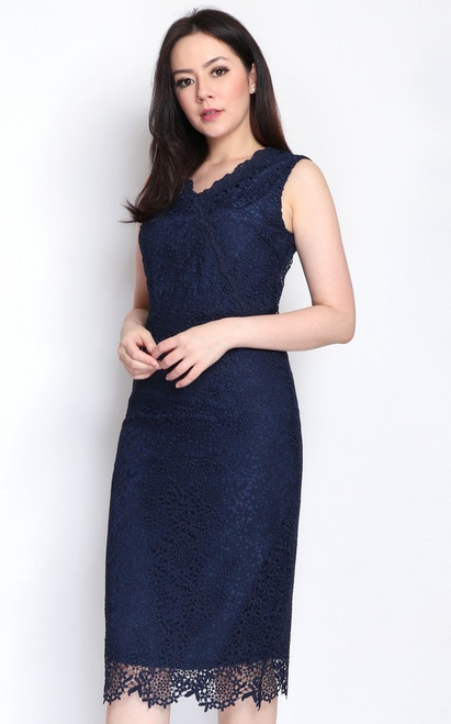 Crochet Lace Pencil Dress - Navy
