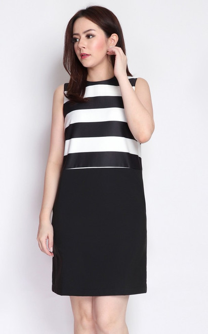 Monochrome Striped Shift Dress