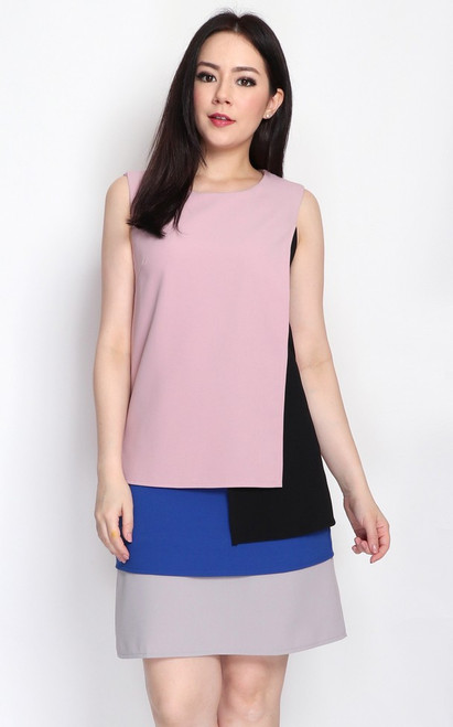 Colourblock Layered Dress - Dusty Pink