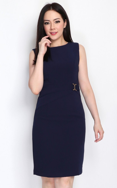 Side Buckle Pencil Dress - Navy