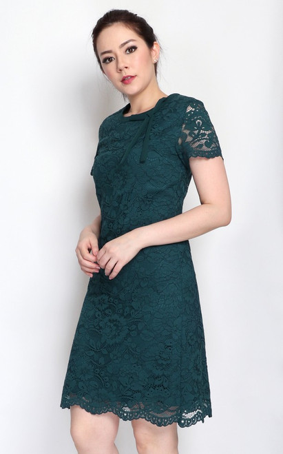 Scallop Lace Dress - Emerald