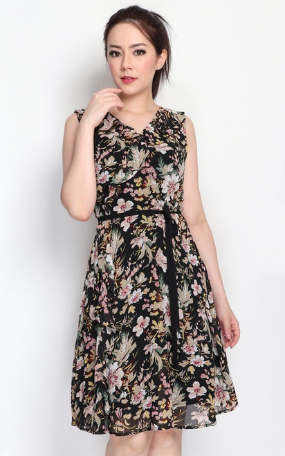 Floral Ruffle Dress - Black