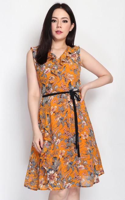 Floral Ruffle Dress - Marigold