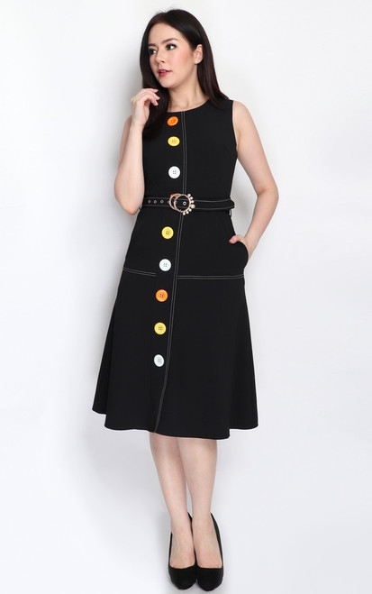 Buttons Contrast Stitch Dress