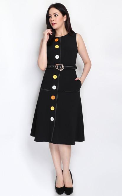 Buttons Contrast Stitch Dress