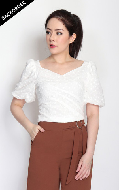Eyelet Puff Sleeves Top - White