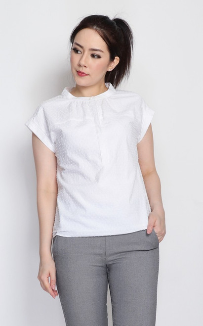 Dobby Dot Button Top - White