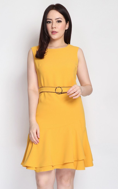 Tiered Ruffle Hem Dress - Marigold